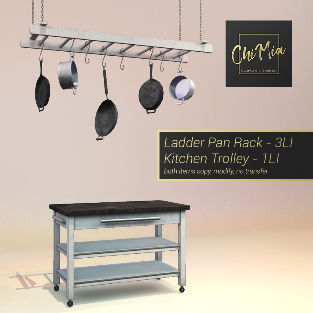 Kitchen Trolley & Laddar Pan Rack